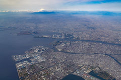 Aerial view of Tokyo Bay and Mount Fuji Stock Image