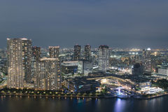 Aerial view of Tokyo city bay area at night Royalty Free Stock Image