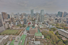 Buildings and shops in a rural part of Tokyo. Aerial view of Tokyo with the city highway. Japan 2016 Stock Images