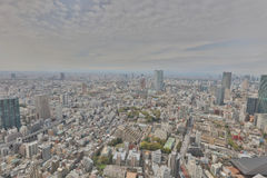 Buildings and shops in a rural part of Tokyo. Aerial view of Tokyo with the city highway. Japan 2016 Stock Photography