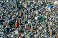 Aerial view of metropolis. Aerial view of Tokyo in Japan, buildings are like in a 3D video game Royalty Free Stock Photo