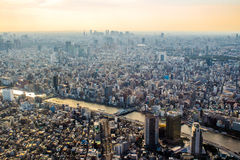 Aerial view of Tokyo, Japan at sunset Stock Photography
