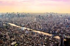 Aerial view of Tokyo, Japan at sunset Royalty Free Stock Image