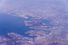Aerial view of Tokyo-Kawasaki Industrial zone area, Japan from w Stock Images