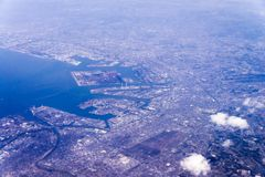 Aerial view of Tokyo-Kawasaki Industrial zone area, Japan from w Stock Photography