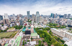 Aerial view of Tokyo skyscrapers. City skyline, business concept.  Stock Photo