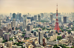 Aerial view of Tokyo Tower Stock Images