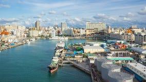 Aerial view of Tomari port in Naha, Okinawa Prefecture, Japan
