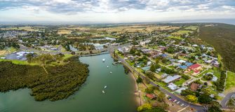 Aerial view of Tooradin - small coastal town in Victoria Australia. Stock Photography