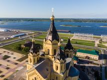 Aerial view of a top of Alexander Nevsky Cathedral with Volga river in the background stock photography