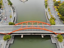 Aerial view top view of Bridge and Haihe river in Tianjin. royalty free stock images