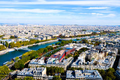 Aerial view from top of Eiffel Tower. Stock Photo