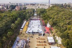 Aerial view from the top of ferris wheel with crowded ice and ci Stock Image