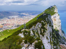 Aerial view of top of Gibraltar Rock Royalty Free Stock Photography