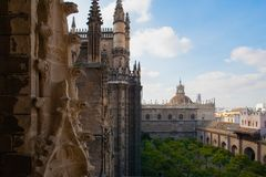 Aerial view from the top of Seville Cathedral, Spain. royalty free stock photography