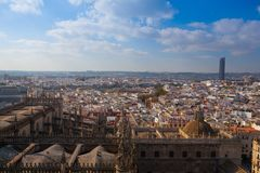 Aerial view from the top of Seville Cathedral, Spain. stock photo
