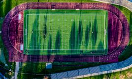 Aerial view top view of football court stock photography