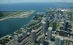 Aerial view of Toronto Canada. Toronto, Canada downtown and city airport  seen in aerial view Stock Photos