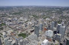Toronto Aerial View from the Canadian National Tower. Aerial View of Toronto City from Ontario province in Canada on 24th June 2017 Royalty Free Stock Image