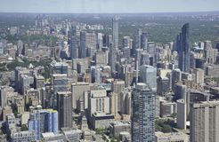 Toronto Aerial View from the Canadian National Tower. Aerial View of Toronto City from Ontario province in Canada on 24th June 2017 Royalty Free Stock Photography