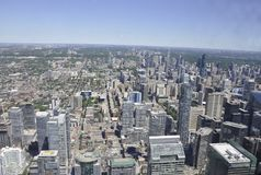 Toronto Aerial View from the Canadian National Tower. Aerial View of Toronto City from Ontario province in Canada on 24th June 2017 Royalty Free Stock Images
