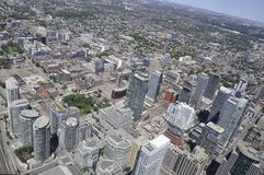 Toronto Aerial View from the Canadian National Tower. Aerial View of Toronto City from Ontario province in Canada on 24th June 2017 Stock Photos