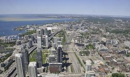 Toronto Aerial View from the Canadian National Tower. Aerial View of Toronto City from Ontario province in Canada on 24th June 2017 Royalty Free Stock Photo