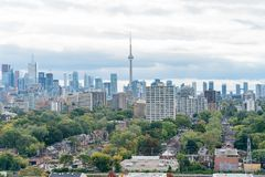 Aerial view of the Toronto skyline with CN Tower from Casa Loma. At Canada stock image