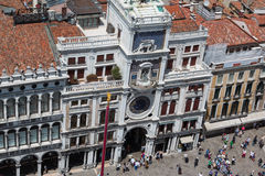 Aerial View of Torre dell'Orologio building in Saint Mark's Squa Royalty Free Stock Photo
