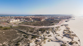 Aerial view of Torreira beach Stock Photography