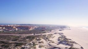 Aerial view of Torreira beach stock video footage