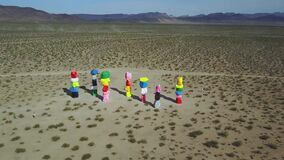 Aerial view, tourist attraction of Seven Magic Mountains, Ivanpah, rock art