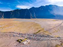 Aerial view of tourist jeeps at parking area, Bromo volcano, Ind stock images