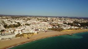 Aerial view of touristic Albufeira, Algarve, Portugal stock footage