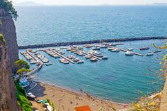 Aerial View of a Touristic Harbour in Sorrento, Italy Stock Image