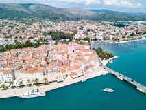 Aerial view of touristic old Trogir, historic town on a small island and harbour on the Adriatic coast in Split-Dalmatia, Croatia. Aerial view of touristic old royalty free stock photography