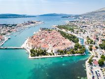 Aerial view of touristic old Trogir, historic town on a small island and harbour on the Adriatic coast in Split-Dalmatia, Croatia. Aerial view of touristic old stock images