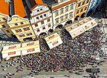 Aerial view of tourists watching Astronomical Clock (Orloj) in the Old Town of Prague. Royalty Free Stock Photography