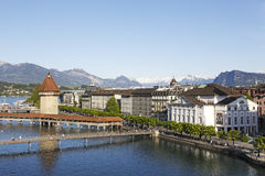 Aerial view towards landmarks by the river Reuss. Lucerne, Switzerland - May 06, 2016: Aerial view towards landmarks by the river Reuss. The Chapel Bridge Stock Photo