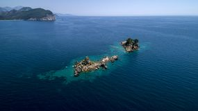 Aerial view of a beautiful island with church in the Adriatic Sea stock photos