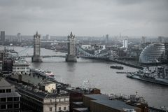 An aerial view from tower bridge, London royalty free stock photo