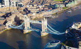 Aerial view of Tower Bridge in London city Stock Images