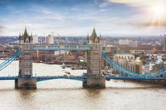 Aerial view of the Tower Bridge in London on a sunny day Royalty Free Stock Image