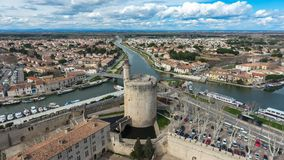 Aerial view of the tower of Constance in Aigues Mortes. Aerial view of the tower of Constance in Aigues Mortes, Provence, France Stock Photography