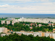 Aerial view from tower of district gdansk buildings and sea. Stock Image