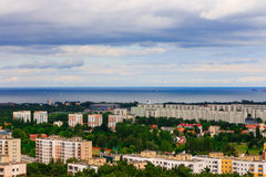 Aerial view from tower of district gdansk buildings and sea. Royalty Free Stock Photography