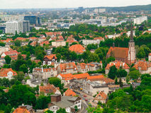 Aerial view from tower of district gdansk buildings and sea. Stock Photography