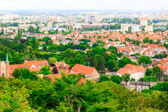 Aerial view from tower of district gdansk buildings and sea. Stock Photos