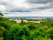 Aerial view from tower of district gdansk buildings and sea. Royalty Free Stock Image