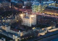 Aerial view of the Tower of London at night Royalty Free Stock Photo